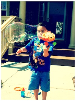 B playing with Bubbles