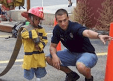 Firefighter with a child